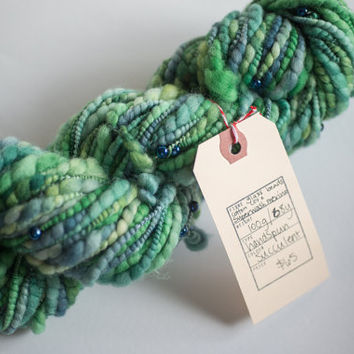 Handspun superwash merino art yarn - Succulent