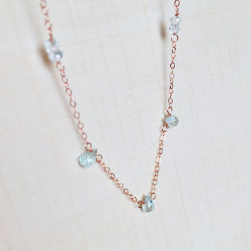 Sparkling, Aquamarine Briolettes and Rondelles in 14k Rose Gold Fill, Gemstone Station Necklace, Genuine Aquamarine Stones, Gift, Pink Gold