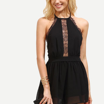 Front Lace Black Jumper with Shorts and Sleeveless Top
