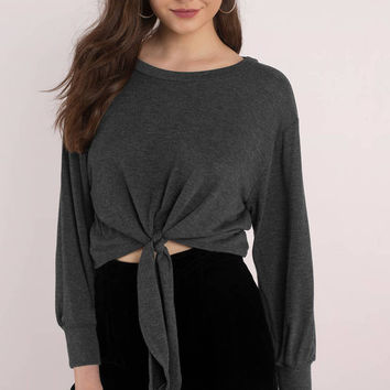 Crystal Front Tie Long Sleeve Top
