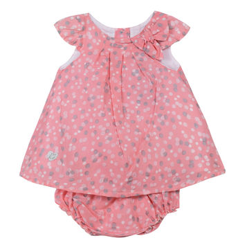 3Pommes - Baby Girl Polka Dot Dress and Bloomer, Pink - 12/18M