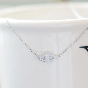 Evil eye necklace...Silver evil eye necklace---dainty handmade necklace, everyday jewelry. necklace for women.