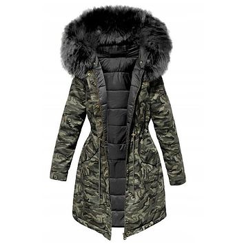 Women Winter Jacket  Hooded Parkas Winter Coat Women Loose Parka Fur Collar Cotton Padded Jackets