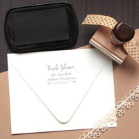 Personalized Return Address Stamp with Wooden Handle - Custom Calligraphy Return Address Stamp