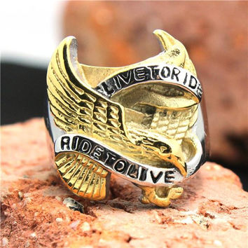 Live to Ride Ride to Live Golden Eagle Biker Ring