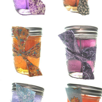 6 Scented Candles In Bulk, Gel Candles In Mason Jars, Home Fragrance Shop, Purple Orange Country Decor