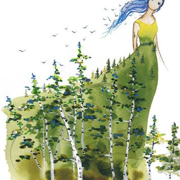 Lady Aspen - Art Print cute girl's room decor gift idea young forest spirit tree dryad colourful leaves teen girl blue birds Oladesign 8x10