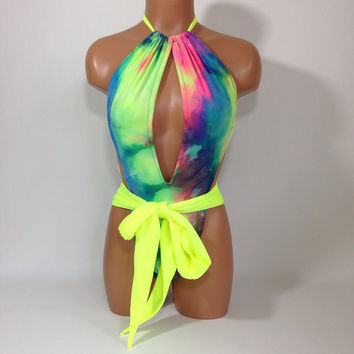 Neon tie dye Sexy one piece bathing suit