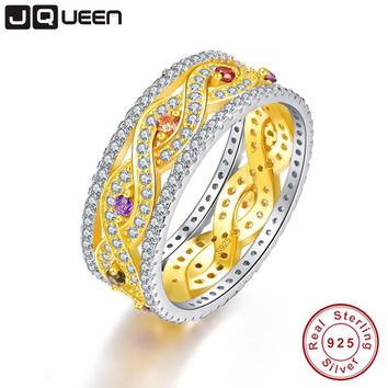 JQUEEN Natural Amethyst and Citrine Wedding Rings Gold Infinity Love 925 Sterling Silver For Women Fine Jewelry With Gift Box