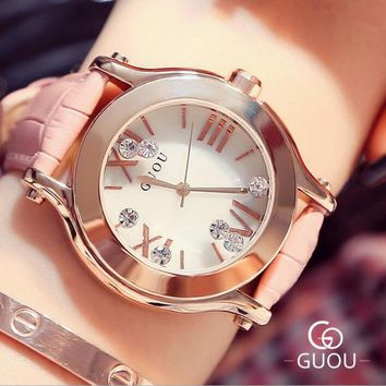 GUOU Luxury Rhinestone Women's Watches Fashion Diamond Wrist Watch Women Watches Fashion Ladies Watch Clock relogio reloj mujer