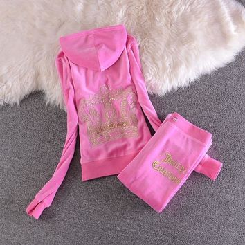 Juicy Couture Sequin Crown Velour Tracksuit 2205 2pcs Women Suits Pink