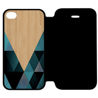 wooden geometric iPhone 4 | 4S Flip Case Cover