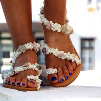 White Beach Wedding Sandals,Sea Shell Sandals,Greek Sandal, barefoot sandal, Genuine leather shoes, Summer shoes,