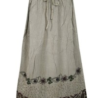 Womens Maxi Skirt Stonewashed Rayon Embroidered Grey Bohemian Skirts