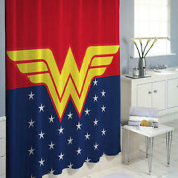 Wonder Woman Super Hero Logo High Quality Custom Shower Curtain 60 x 72 66 x 72