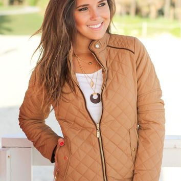Camel Quilted Jacket