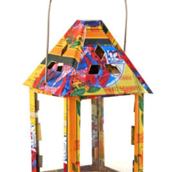 African Fixe Reverse Glass Painted Lantern