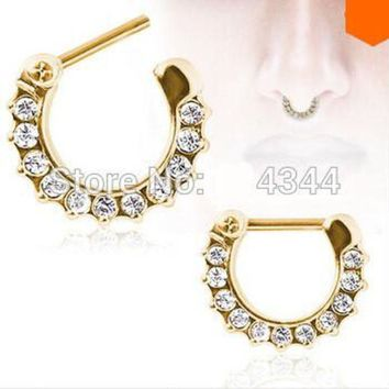 ac PEAPO2Q 1pcs golden Surgical Steel CZ Clicker Small Hoop Septum Jewerly Nose Ring body piercing jewelry