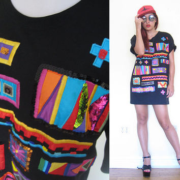 Vintage 80's patchwork black embroidered sequined oversized club kid rave mini t-shirt dress