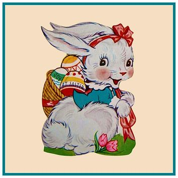 Vintage Bunny in Pink Bow with Basket of Decorated Easter Eggs Counted Cross Stitch Pattern
