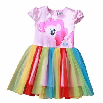 Summer My Baby Girl fashion Cotton Dress Children Clothing Girls little Pony Dresses Cartoon Princess Party Costume Kids Clothes