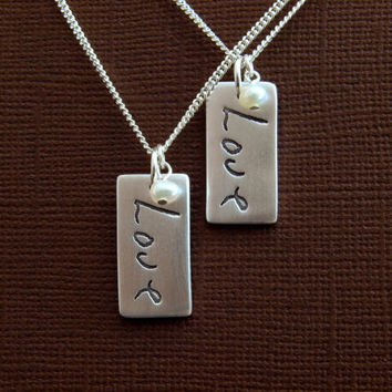 Wedding Jewellery Bridesmaid's Gift - A Loved One's Handwriting on Fine Silver Pendant - Memorial Necklace