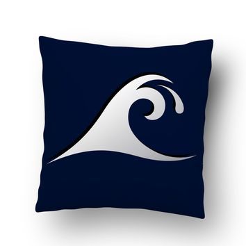 Blue Epic Wave Surf Throw Pillow Case from Surfer Bedding