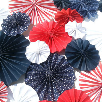 Fourth of July Patriotic Pinwheel Decoration Red White Blue