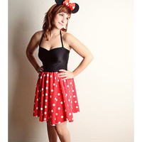 Minnie Mouse Halter Dress Halloween COSTUME Handmade Red Polka Dot Black