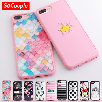 Princess Crown Flower Cactus Cat Mickey Mouse Printing Soft Silicone Case For iphone 5s 5 SE 6 6S plus 7 7plus TPU phone case