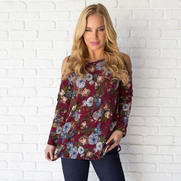 Bundle Of Roses Open Shoulder Sweater Top
