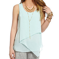 I.N. San Francisco Asymmetric Lace-Back Tank Top - Light Blue
