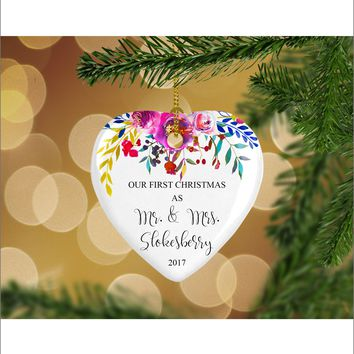Personalized Floral Our First Christmas as Mr. & Mrs. Christmas Ornament- Wedding Ornament - Christmas Gift Ideas - HO0001
