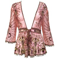 Beautiful Roberto Cavalli salmon pink silk mesh embroidered beaded cardigan