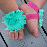 Baby Barefoot Sandals .. Aqua Flowers .. Toddler Sandals .. Newborn Sandals