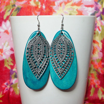 Turquoise Wood Sterling Silver Filigree Earrings