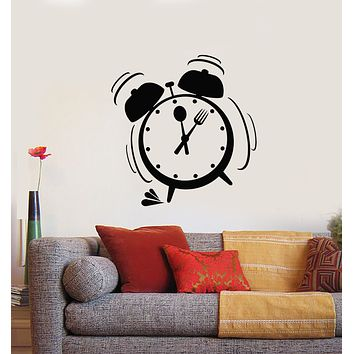 Vinyl Wall Decal Alarm Clock Time To Eat Kitchen Break Room Stickers Mural (g581)