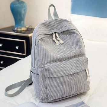 School Backpack Miyahouse Preppy Style Soft Fabric Backpack Female Corduroy Design  For Teenage Girls Striped Backpack Women AT_48_3