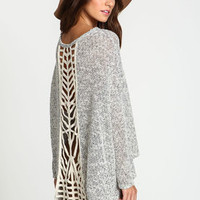 Cut Out Marled Knit Sweater Top - LoveCulture