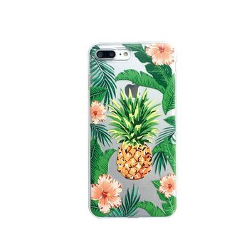 Tropical Hibiscus and Pineapple iPhone Case