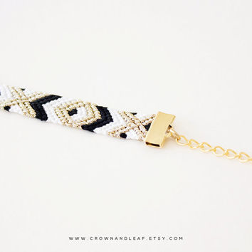 Black and White / XO / Gold Chain Friendship Bracelet / Woven Bracelet / Aztec Bracelet / Gold Chain Bracelet / Braided Bracelet / Tribal