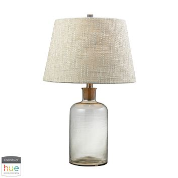Clear Glass Bottle Table Lamp with Cork Neck - with Philips Hue LED Bulb/Bridge
