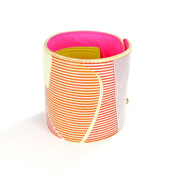 Leather Wallet Cuff / Bracelet Purse - Neon Mobius