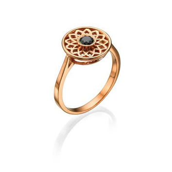 Unique, Designer Vintage Rose Gold, 0.29ct Black Diamond Right-hand Ring