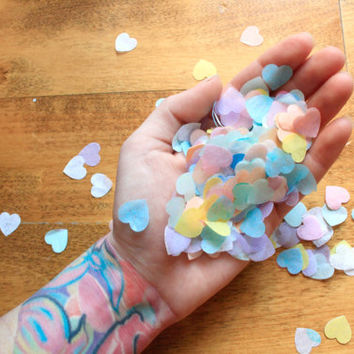 Heart Confetti ... Valentines Day Party Decor . Pastel Rainbow Conversation Heart Candy