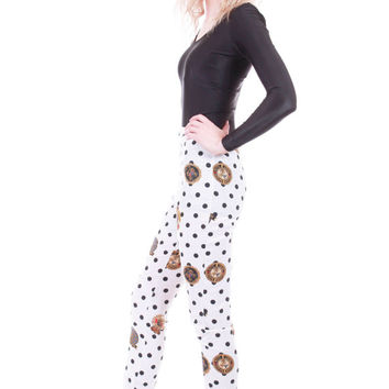 High Waist Black and White Polka Dot Nautical Versace Style Skinny Pants Novelty 90s Vintage Clothing Womens Size XS