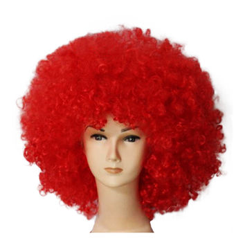 Fashion Afro Cosplay Curly Clown Party 70s Disco Cosplay Wig Cheering Squad Clown   Red