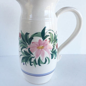 80's Wild Hare Pottery Pitcher or Handled Vase, Vintage Wild Hare Floral Pitcher