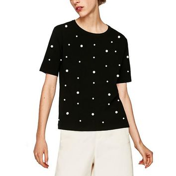 Casual Lady Black Tops Short Sleeve O-Neck T-Shirts