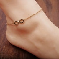 Lucky 8 words simple anklet 15010142 by CHIQ CLUB